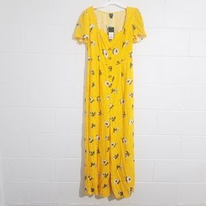 Wild Fable Wide Leg Yellow Floral Jumpsuit